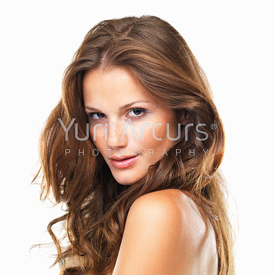 Closeup portrait of beautiful woman on white background