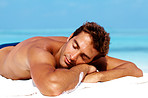 Handsome man taking sunbath - Copyspace