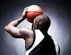 Free throw - Young man playing basketball