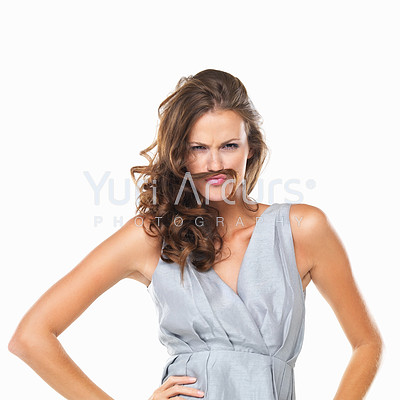 Portrait of playful woman with moustache made of her hair