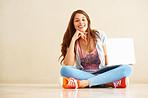 Beautiful woman sitting with laptop