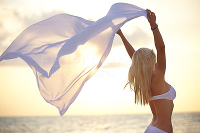 Buy stock photo Shot of a carefree young woman holding a sarong in the breezy beach air