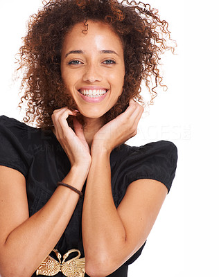 Buy stock photo Closeup portrait of a young woman smiling while isolated on white