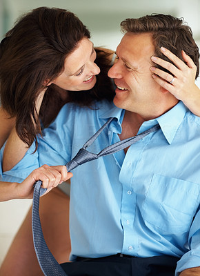 Buy stock photo Happy and intimate mature couple during foreplay