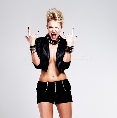 Buy stock photo Portrait of funky woman in punk mood over white background