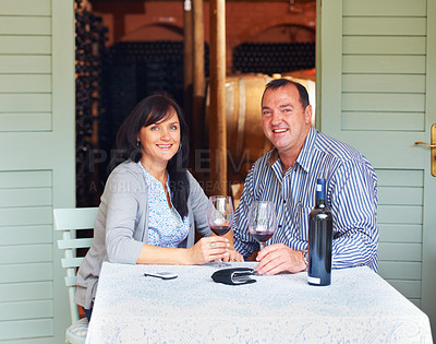Buy stock photo Portrait of a  happy mature couple toasting with some red wine while sitting at a table on a wine cellar