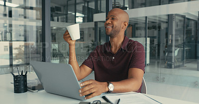 Buy stock photo Shot a businessman having a coffee break while working in a modern office