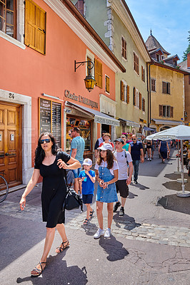Buy stock photo AEditorial: Annecy, France, July, 17, 2019: Houses and street life in the famous medieval part of the city of Annecy, Department of Upper Savoy, France.