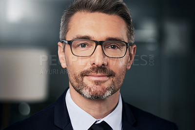 Buy stock photo Portrait of a mature businessman standing in his office