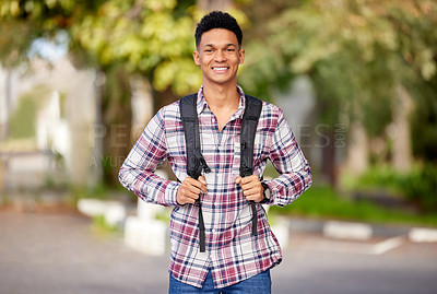 Buy stock photo Portrait of a young student on campus
